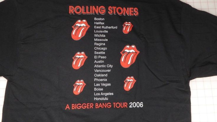 Rolling Stones T-Shirt XL Black A Bigger Bang Tour 2006 List US Cities on back  | eBay