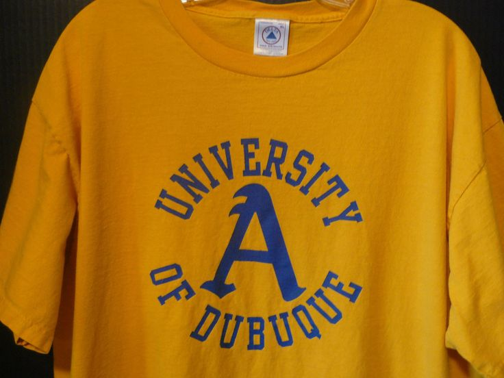 University Of Dubuque Yellow Orange Blue College T Shirt Sz XL Delta 100% Cotton #Delta #GraphicTee
