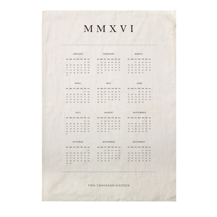 2016 Calendar Tea Towel design by Sir/Madam