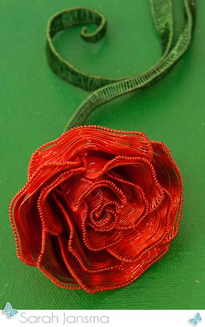 Wire Rose on painted canvas by Sarah Jansma