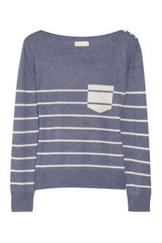 Band of Outsiders Striped boat-neck silk and cashmere-blend sweater | NET-A-PORTER
