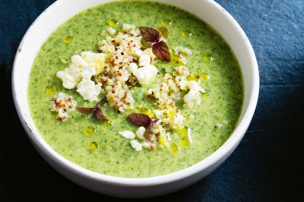 Broccoli & lemon soup with quinoa & feta main image