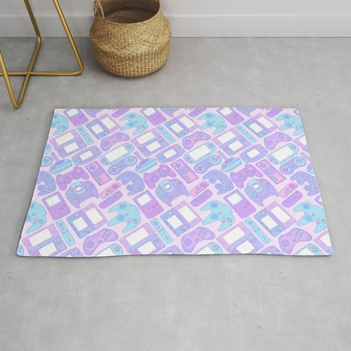 Video Game Controllers In Pastel Colors Rug By Spookish Delight