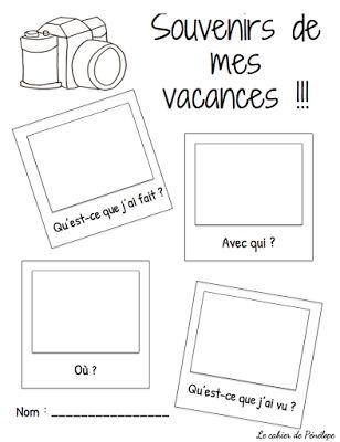 GRATUIT - faire vos élèves décrire en détail des souvenirs de leurs vacances