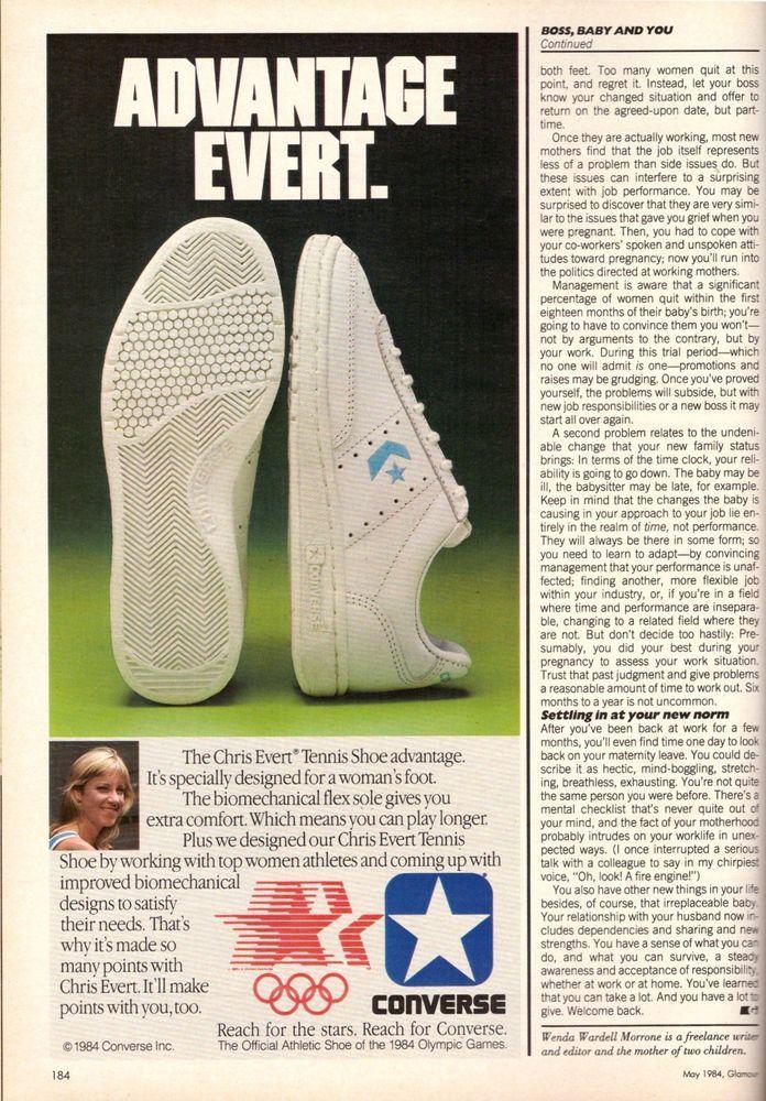 1984 Converse Chris Evert Tennis Shoe Print Ad Vintage Advertisement VTG 80s