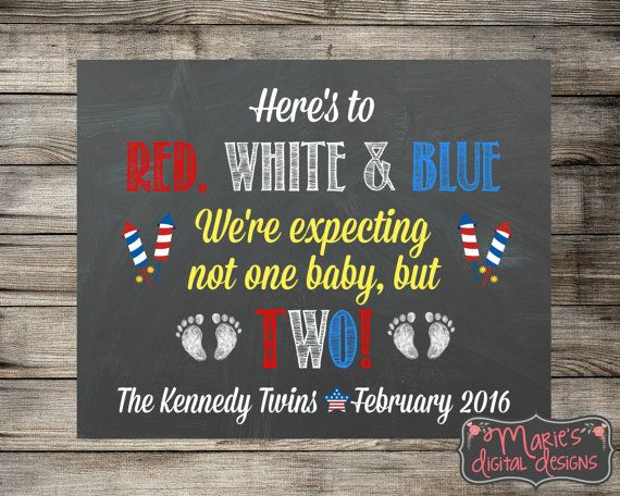Twins Chalkboard Pregnancy Announcement - Red, White & Blue - We're Expecting Not One Baby But Two! Photo Prop Social Media Digital File