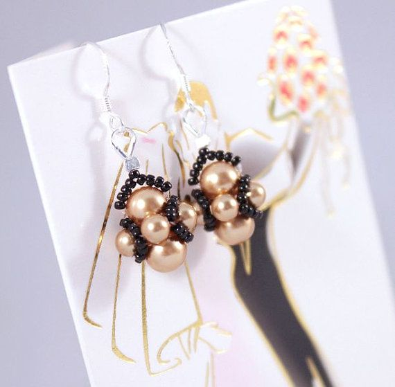 Gold or gray earrings Swarovski gold or gray by CrystalHandmade, $24.00