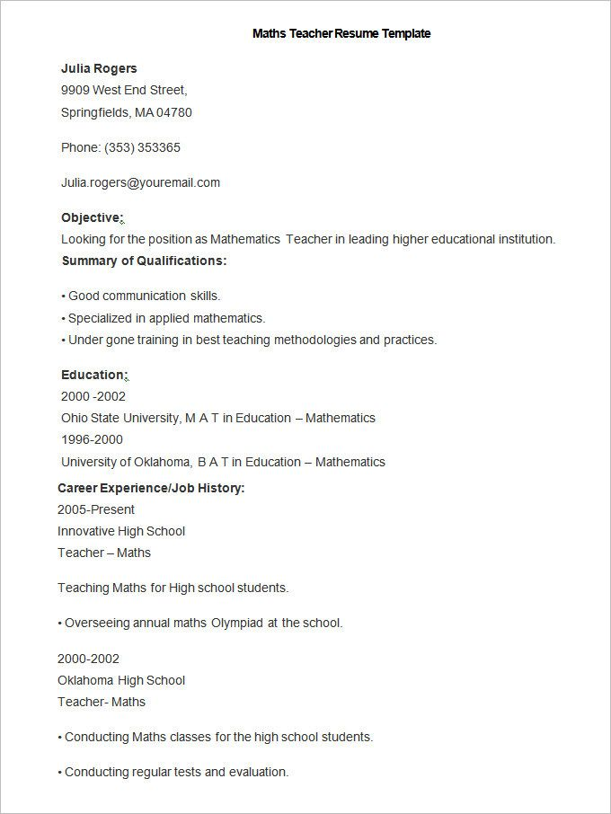 Sample Maths Teacher Resume Template , How to Make a Good Teacher Resume Template , There are many kinds of teacher resume template that you have to understand. Each teacher has their different style on making resume template. In addi...