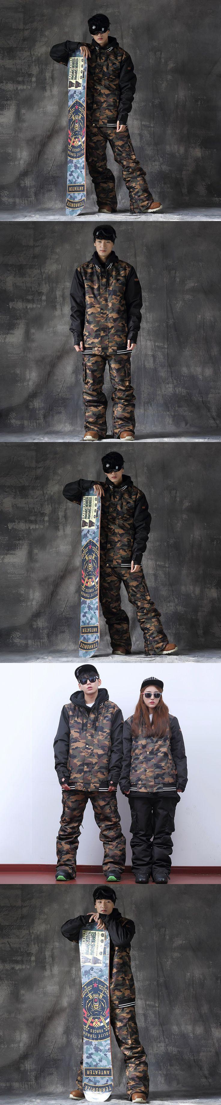 Women Men Snowboard Camo Ski Jacket Pants Ski Suit Waterproof Warm Outdoor Camping Hiking Snowboard Jacket Men Ski Suit