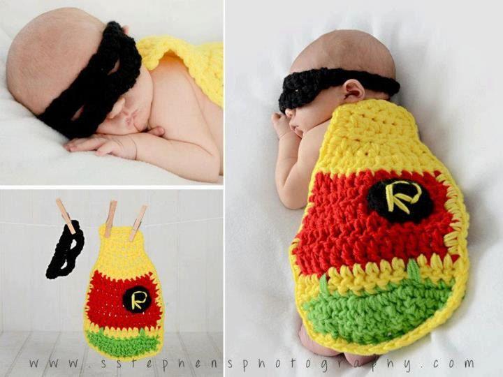 Newborn Crochet Baby Robin Mask & Cape Set. $25.00, via Etsy.    Love the super hero idea.. maybe not robin though
