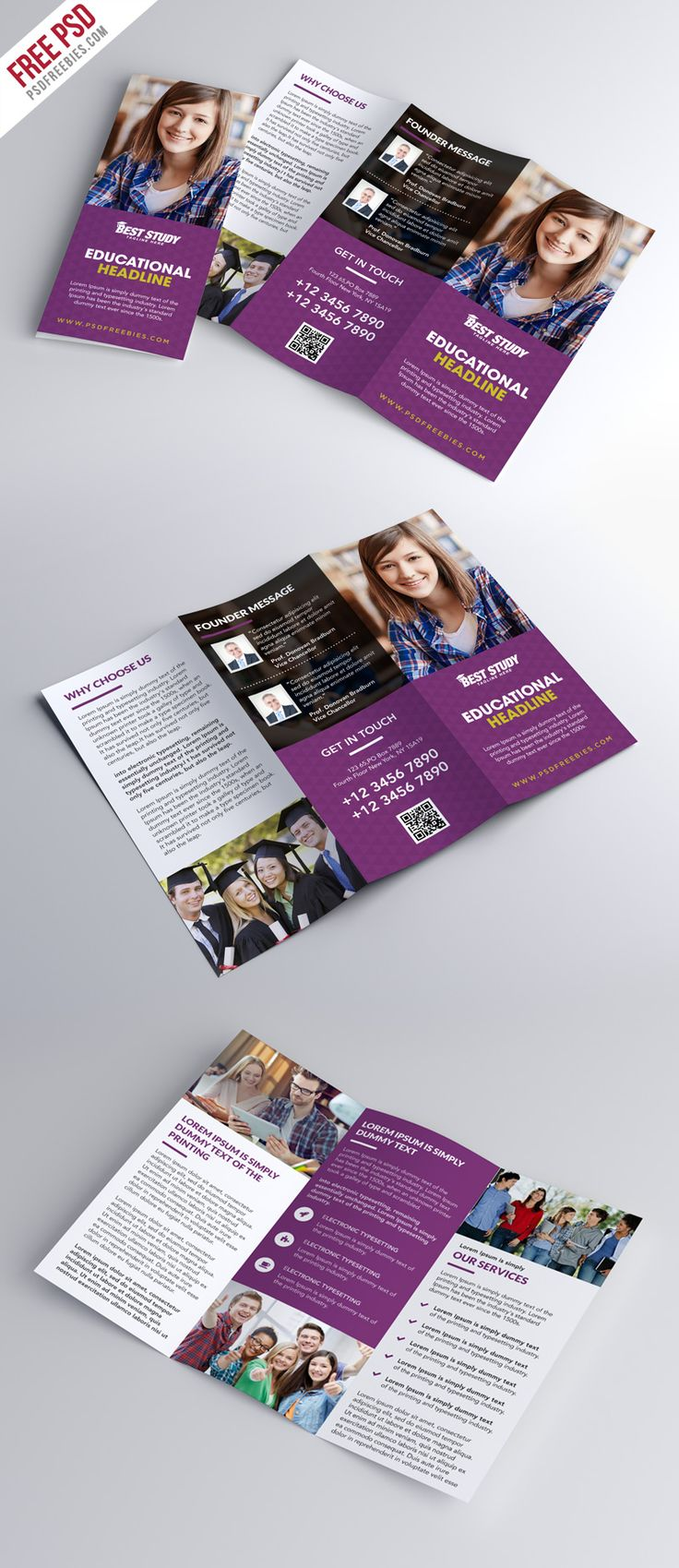 Download Free University College Trifold Brochure PSD Template. This modern and professional university college trifold brochure PSD template is suitable for any kind of university, education institute, school, college, kids kinder garden and more. This university college trifold brochure PSD template is super simple to edit and customize with your own details. Simply add your own images and text.