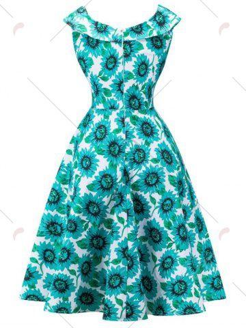 Ретро высокой талией платье Подсолнечное наминка - синий зеленый 2XL
