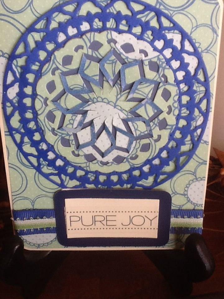 Pure Joy cut and fold, blue and green.
