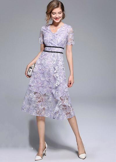 f01635cc2 Compre Vestido Evase Midi Renda Manga Curta para Festa | UFashionShop