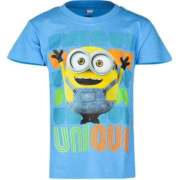 Minions t-shirt til børn i lyseblå farve, med flot stort motiv på fronten