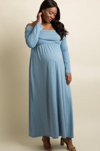 d1df91f968b02 Blue Foldover Off Shoulder Plus Maternity Maxi Dress | Maternity ...