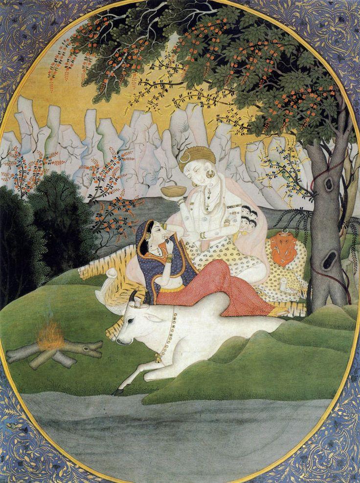 Shiva and Parvati.  Miniature. Pahari, India. 1770s-1780s.  Museum of Oriental Art, Moscow.