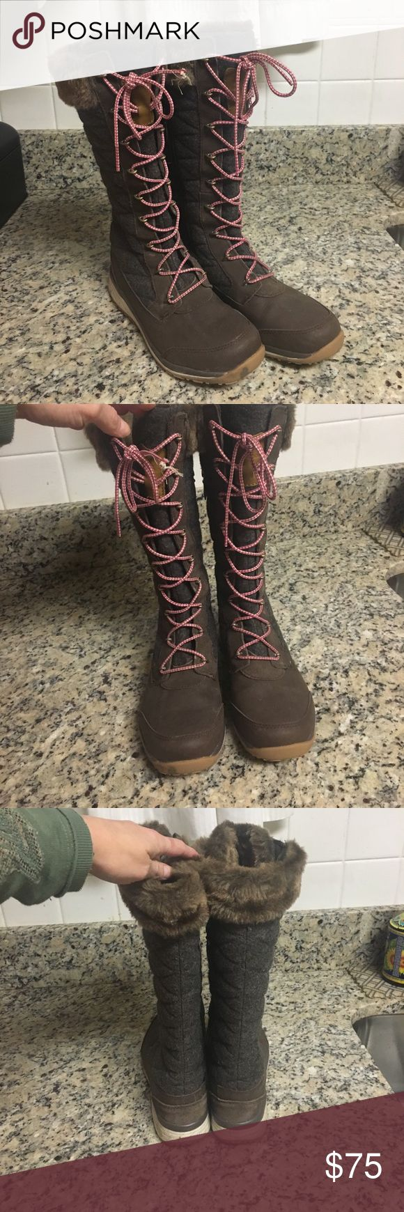 Salomon Hime Winter Boots These boots are like wearing really tall sneakers. Extremely comfortable and warm. Only worn for one season. They are brown with red and white laces. Excellent condition. Size 7. Salomon Shoes Winter & Rain Boots