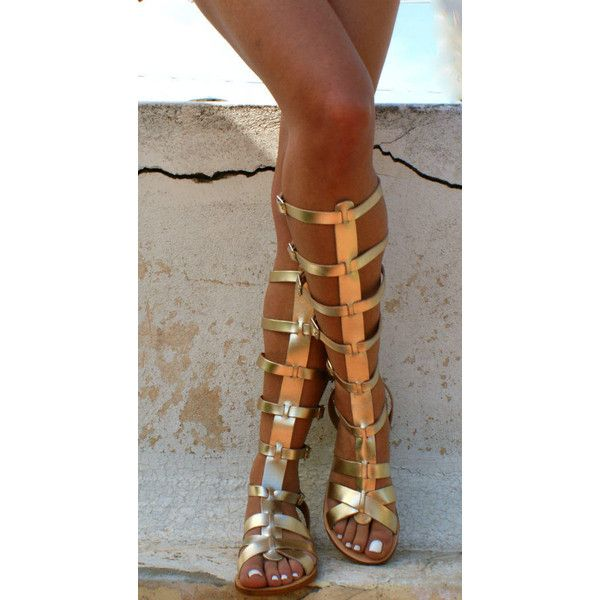 ARES 3 leather gladiator sandals/ ancient Greek sandals/ lace up... ($83) ❤ liked on Polyvore featuring shoes, sandals, summer sandals, strappy leather sandals, gold leather sandals, gladiator sandal and gold strap sandals