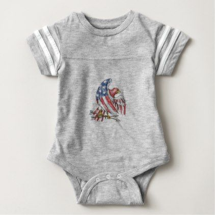American Eagle Stars and Stripes Flag Tattoo Baby Bodysuit - stripes gifts cyo unique style