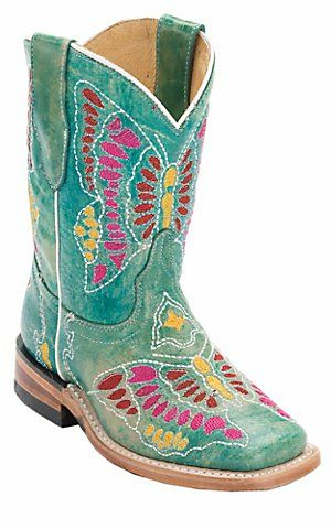Corral Boot Company Kids Distressed Turquoise Multi Butterfly Stitch Square Toe Western Boots