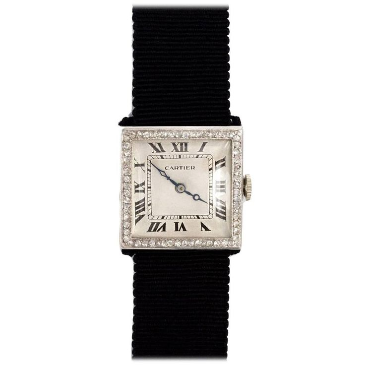 French Art Deco Cartier Diamond Watch | From a unique collection of vintage more jewelry at https://www.1stdibs.com/jewelry/more-jewelry-watches/more-jewelry/