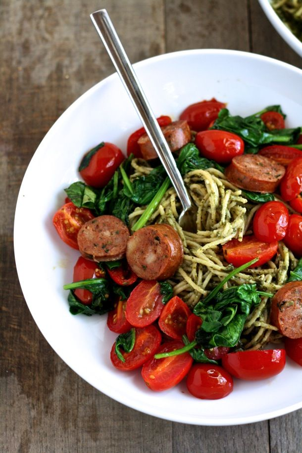 {5 ingredient whole wheat pesto spaghetti with sautéed vegetables and chicken sausage}