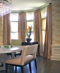 Charming Window Decor Ideas For Triple Windows Part 4   Bay Window Curtain  Rods