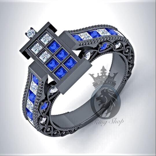 Doctor Who 1/100th Scale TARDIS 3.75CTS Sapphire and Diamond Engagement Ring - Razo's Ring Shop