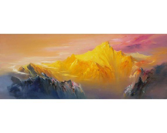 Large Original Snow Mountain Painting Winter Scene Wall Art Mountain Landscape Painting Mountain Scenery Painting Winter Scenes On Canvas Mountain Landscape Painting Mountain Paintings Scenery Paintings