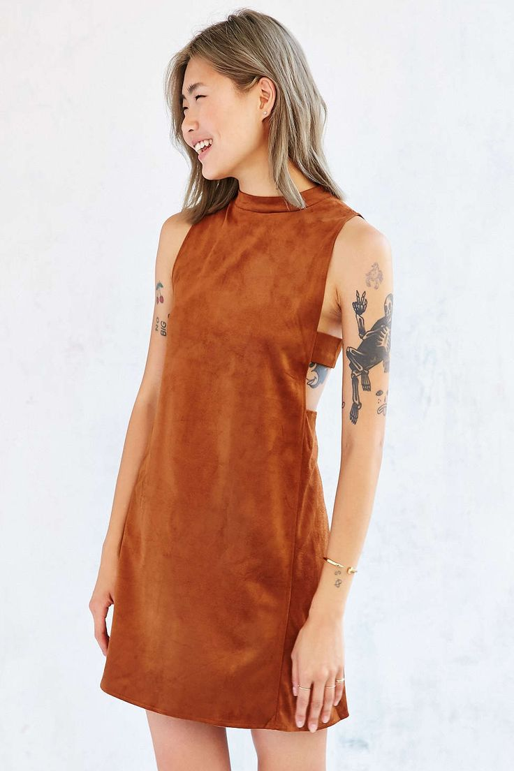 Oh My Love Suede Tank Dress - Urban Outfitters