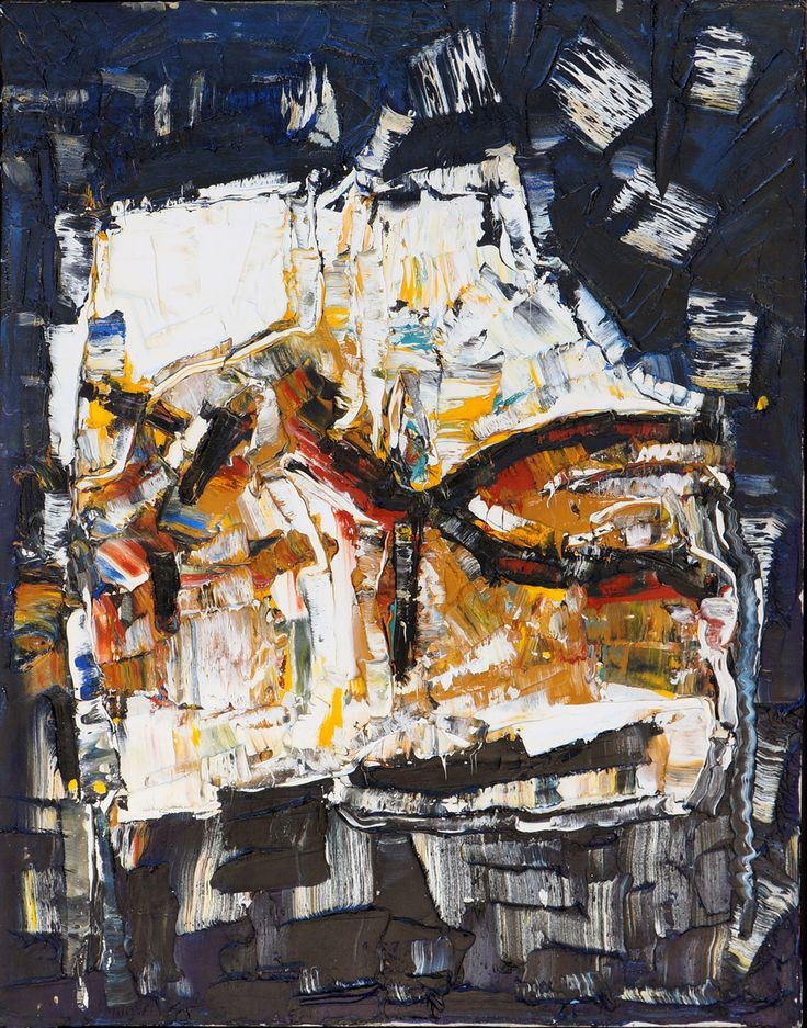 Untitled Oil on Canvas by Jean P. Riopelle (RCA, SCA), painted 1958, size: 45.5 x 35 inches