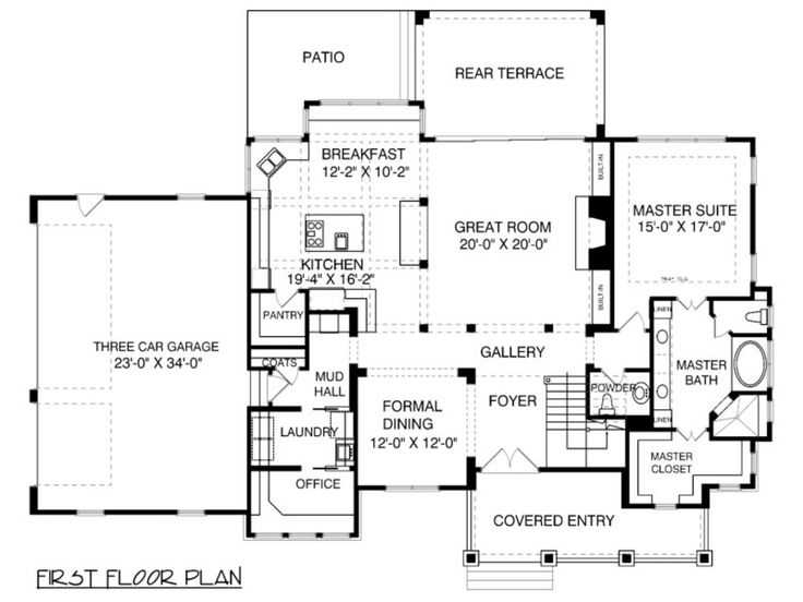 Bungalow craftsman main floor plan plan for Large colonial house plans