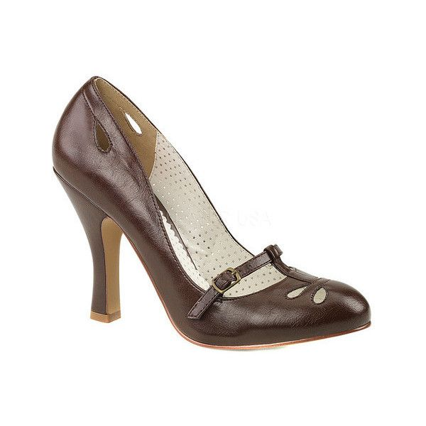 Women's Pin Up Couture Smitten 20 Mary Jane Pump ($57) ❤ liked on Polyvore featuring shoes, pumps, heels, brown, casual, brown pumps, vintage pumps, almond toe pumps, high heel mary janes and brown mary jane shoes