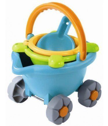 HABA® Sand Bucket Scooter (4010168048598) Everything you need for the sandbox or beach in one easy,portable scooter Bucket for carrying sand or water doubles as a cart with 4 wheels and a handle Sieve, sand car mold and sand trowel stack inside Made from heavy-duty ABS plastic Bright colors so pieces won't get lost in the sand