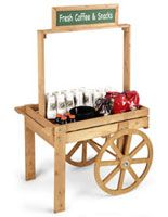 Wooden+Vendor+Cart+w/+Chalkboard+Header+-+Oak