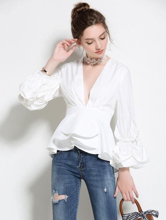 f4aa4e49e6 Stylish V Neck Ruffles Puff Sleeve Blouse. I would make it with a less  fluffy peplum