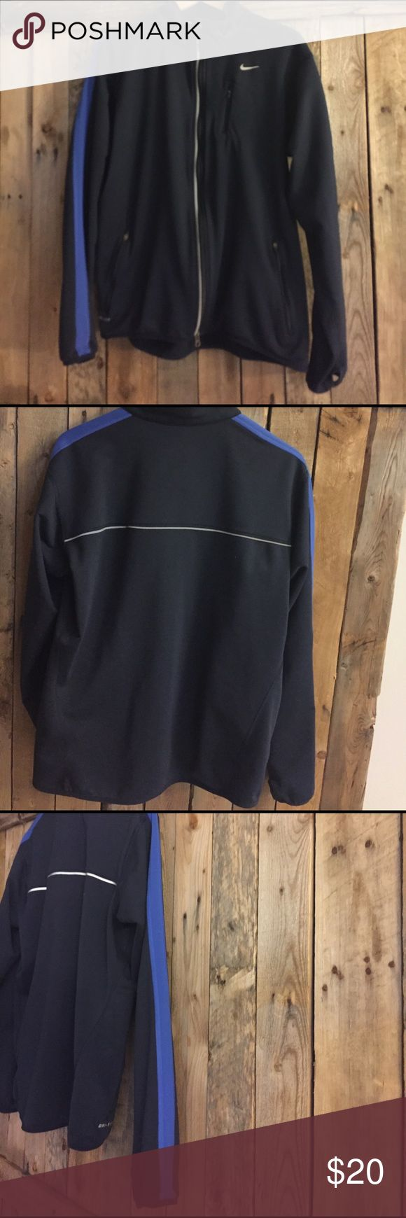 Men's Nike running jacket Men's Nike dri-fit running jacket. Like new. Thumb holes in sleeve. True to size Nike Jackets & Coats Lightweight & Shirt Jackets