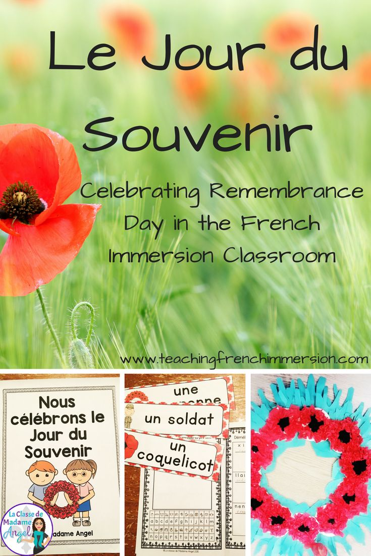 Le Jour du Souvenir: Celebrate Remembrance Day in French with this blog post of ideas - perfect for early French Immerison or Core French students!