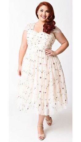 Unique Vintage Plus Size Light Pink Embroidered Garden State Mesh Dress