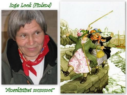 Artist Inge Löök - Finland- and her Happy Grannies. - Inge Löök (real name Ingeborg Lievonen) is a Finnish artist born in Helsinki in 1951. She was once a professional gardener, but today she is most famous for her Granny postcards which so many postcrossers love and collect. When she was a child, Inge lived with her family in a 7-storey building in Helsinki. In the same building lived two older women, Alli and Fifi, who later became the inspiration for the characters in her postcards.
