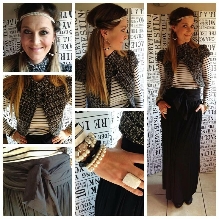 Skirt with bow: Zara. Striped t-shirt: Studio W. Cropped jacket: YDE. Bracelets: Diva. Shoes: Country Road