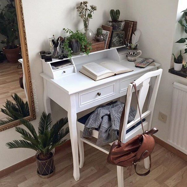 boho, books, brown, desk, green, plants, tumblr, white, study area