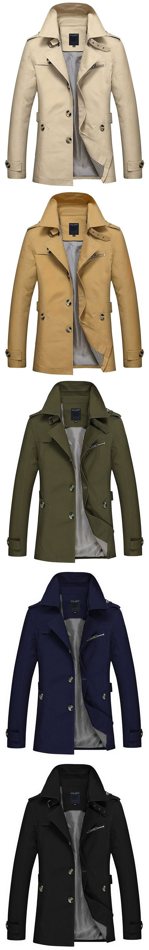 US$37.97 Business Casual Trench Coat Washed Cotton Turndown Collar Jacket for Men