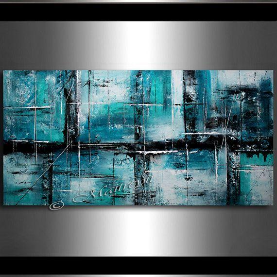 Grande peinture acrylique sur toile peinture par largeartwork