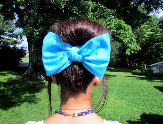 Bandana hair bow, large hair bow,hair clip, hair bow,bow,big hair bow,teens accessories,teens,womens,big bows for hair,hair accessories,Aqua on Etsy, $7.50