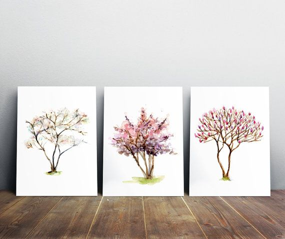 Spring Tree Wall Decor : Spring tree art blossom watercolor painting set