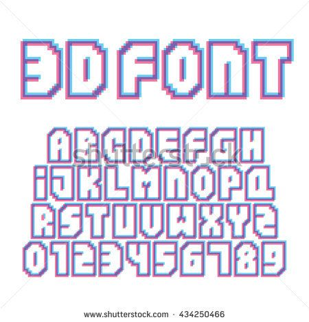 Pixel art style stereo effect letters and numbers vector set