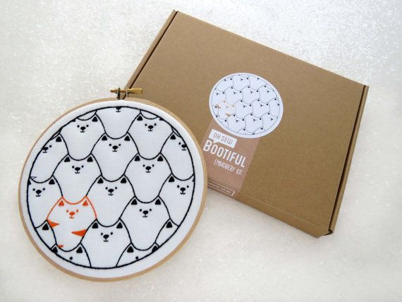 Cats Hand Embroidery Kit. This fab kit contains everything you need (and more) to make this modern, feline embroidery hoop art. The icing on the cake is that the design is pre-printed, in colour, onto the fabric so no need for tracing! ☆ SPECIAL OFFER – 20% OFF ORDERS OVER £60☆  Use coupon code 20OFF60 at checkout   ☆ The Design: This cute cats design is made up of numerous black moggies and a ginger tom cat. They're looking pretty pleased with themselves so must have been up to some…