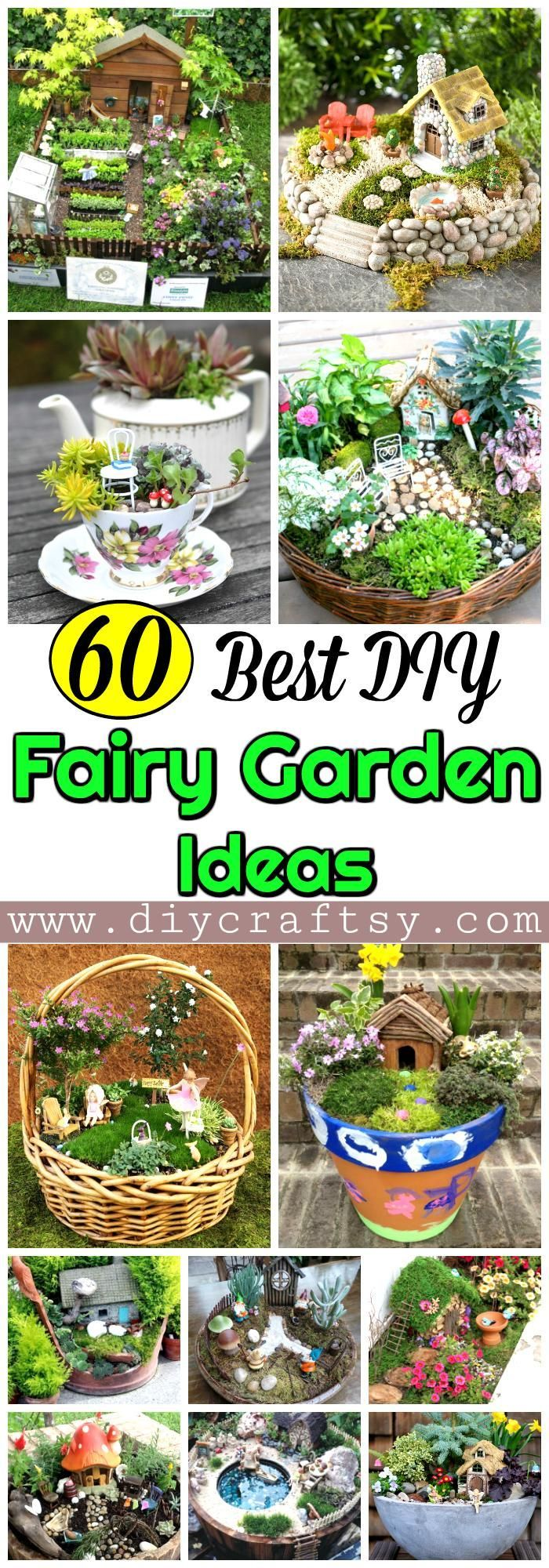 these 60 DIY fairy garden ideas or Fairy garden houses that are all amazing and would bring you a lot of useful and creative information!! For step-by-step